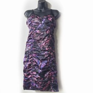 GUESS Printed Ruched Spaghetti Strap Dress Size 10